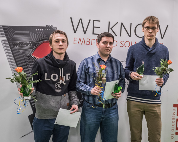 Topptrio 2016: tvåan GM Daniil Lintchevski, Ryssland (2561), ettan GM Vladimir Onischuk, Ukraina (2614) och trean Erik Blomqvist, Sverige (2514). Foto: Lars OA Hedlund