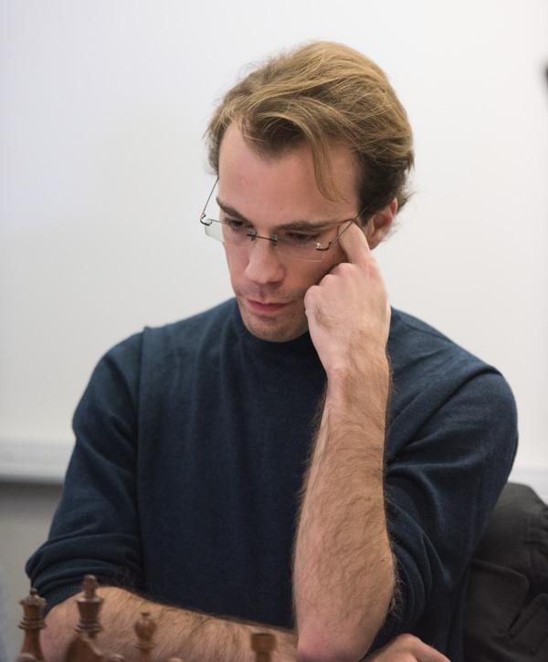GM Georg Meier var en av dem som vann alla fyra snabbschackpartierna under den första dagens spel. (Foto: Lars OA Hedlund)