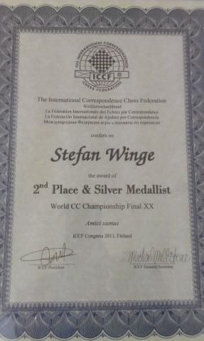 Detta diplom erhöll GM Stefan Winge när han kom tvåa i VM i korrespondensschack 2011. (Foto: Thomas Engqvist)